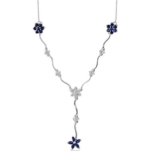 Classic Beauty Marquise and Round Shape 0.925 Sterling Silver Created Sapphire and White CZ ...