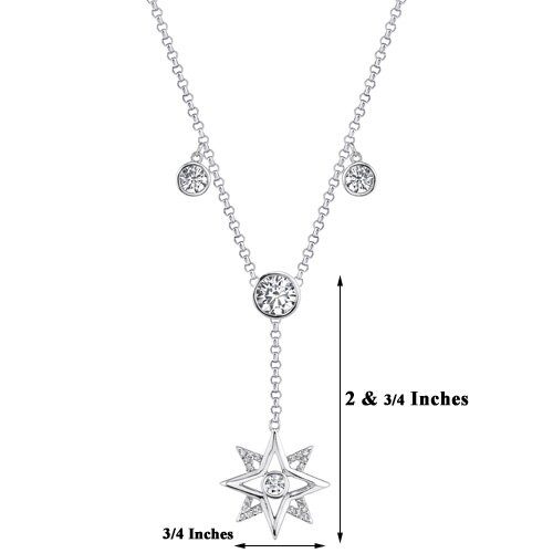 Oravo Starlit Glamour Sterling Silver Designer Style Bridal Jewelry Cable Chain Bezel Set Cubic Zirconia Necklace