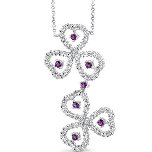 Oravo Destined to Dazzle 0.75 Carat Round Shape Amethyst and White CZ Gemstone Necklace in Sterling Silver