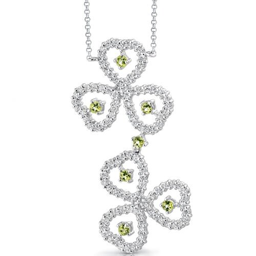 Oravo Destined to Dazzle 0.75 Carat Round Shape Peridot and White CZ Gemstone Necklace in Sterling Silver