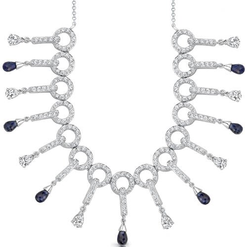 Dainty Chic Briolette Drop Sapphire and White CZ Gemstone Necklace in Sterling Silver
