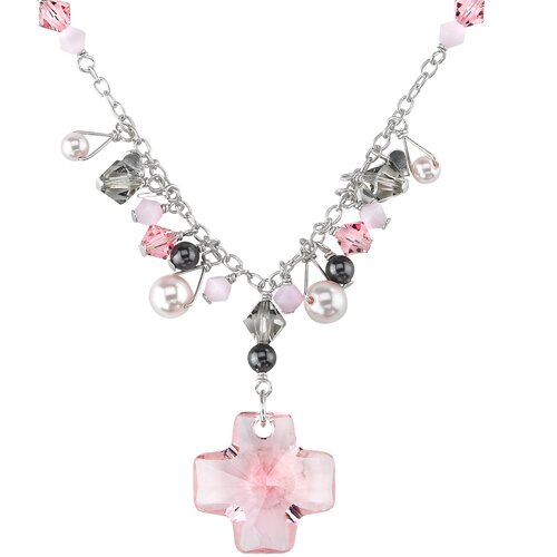 Cross My Heart Sterling Silver Charm Necklace with Pink Swarovski Crystals and Cultured Pearls