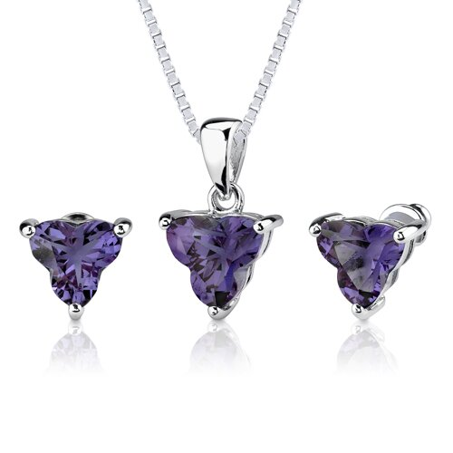 Ultimate Magic 10.75 carat Tri Flower Cut Alexandrite Pendant Earring Set in Sterling Silver