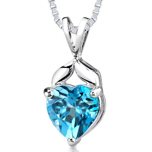 Oravo 3.00 cts Heart Shape Swiss Blue Topaz Pendant in Sterling Silver