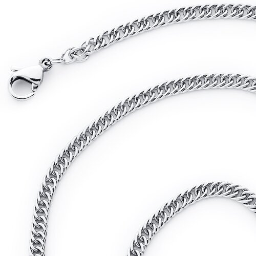 "Oravo 0.1"" 316L Stainless Steel Diamond Cut Flat Double Curb Chain Necklace"