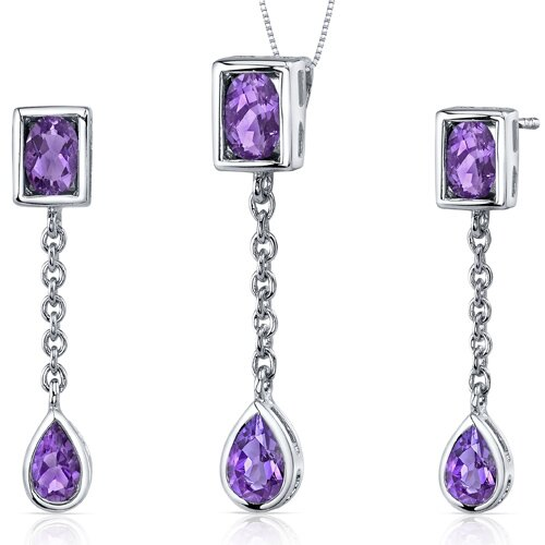 Oval and Pear Shape Gemstone Dangling Dazzle Pendant Earrings Set