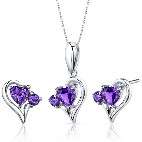 Heart Shape Gemstone Finish Love and Beauty Pendant Earrings Set