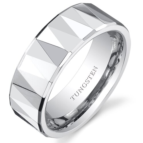 Men's Polished Tungsten Faceted Wedding Band