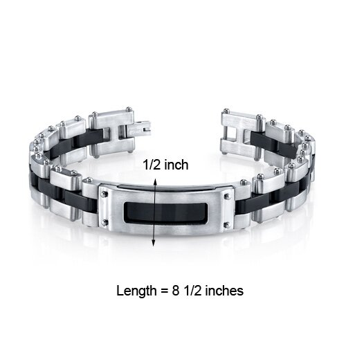 Oravo Men's Riveted Industrial Black and Two Tone Stainless Steel Bracelet