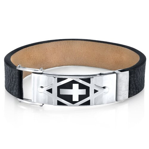 Harmony of Faith Cross and Star of David Black Genuine Leather Men's Stainless Steel Bracelet ...