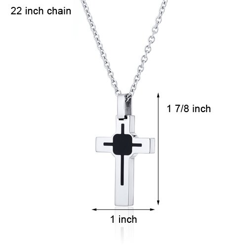 Oravo Art Deco Style Polished Finish Stainless Steel Cross Pendant