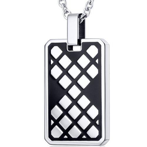 Modern Mosaic Design Black Stainless Steel Dog Tag Style Pendant
