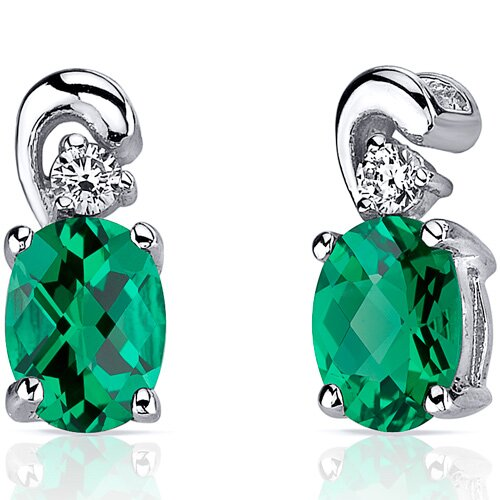 Sleek and Radiant 1.50 Carats Oval Cut Emerald Earrings