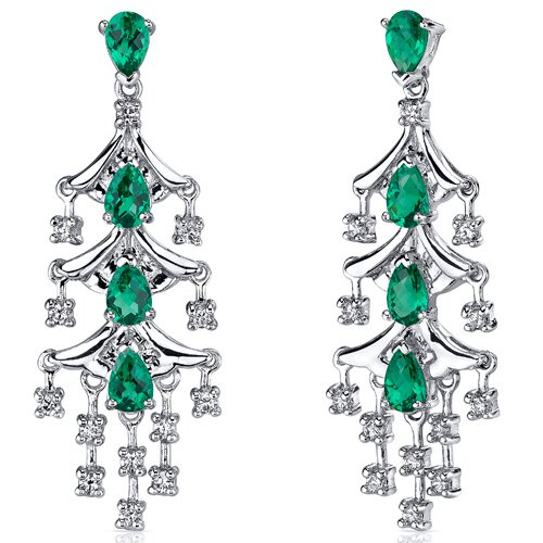Captivating Seduction 4.00 Carats Pear Cut Emerald Dangle Earrings