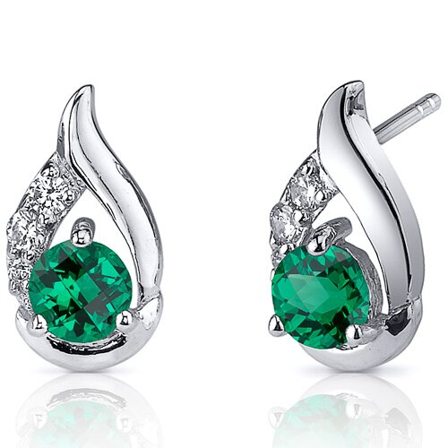 Radiant Teardrop 1 Carat Round Cut Emerald Earrings