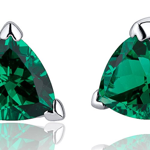 Oravo 1.50 Carats Trillion Cut  Emerald V Prong Stud Earrings