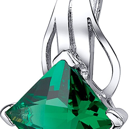 "Oravo 2.00 Carats Princess Checkerboard Cut Emerald Pendant with 18"" Necklace"