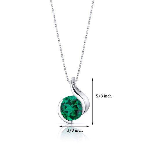 Oravo Stunning Sophistication 1.75 Carats Round Cut Emerald Pendant