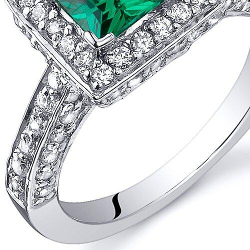 Oravo 0.75 Carats Princess Cut Emerald Engagement Ring