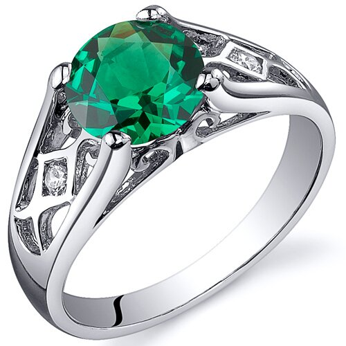 Cathedral Design 1.25 Carats Round Cut Emerald Solitaire Ring