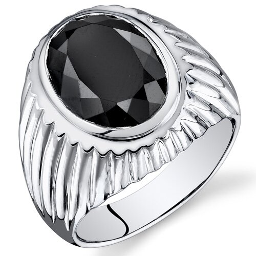 Men's Sterling Silver Oval Cut Onyx Ring