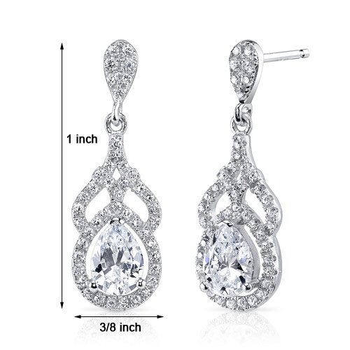 Oravo Pear Cut Cubic Zirconia Drop Earrings