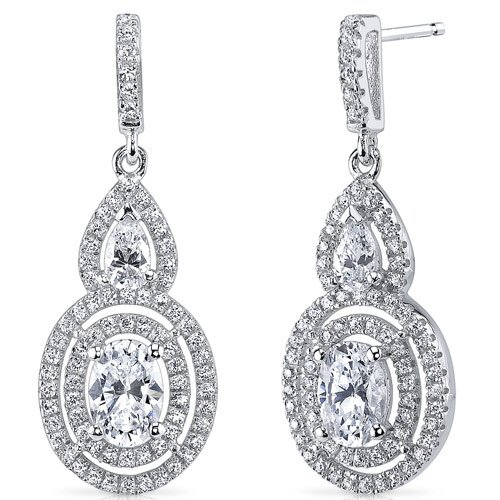 Oravo Oval and Pear Cut Cubic Zirconia Drop Earrings