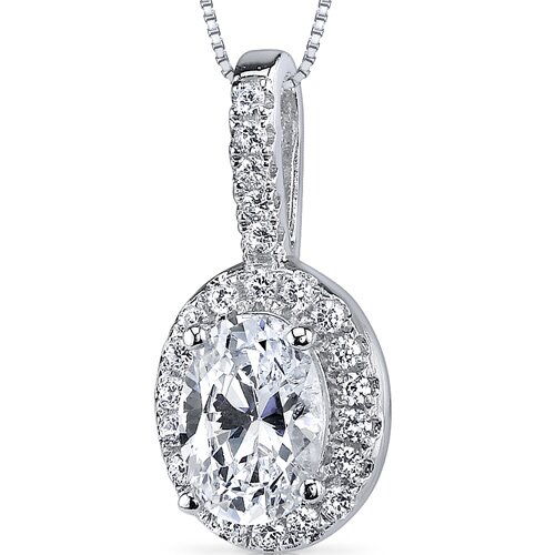 Sterling Silver Oval Cut Cubic Zirconia Pendant Necklace