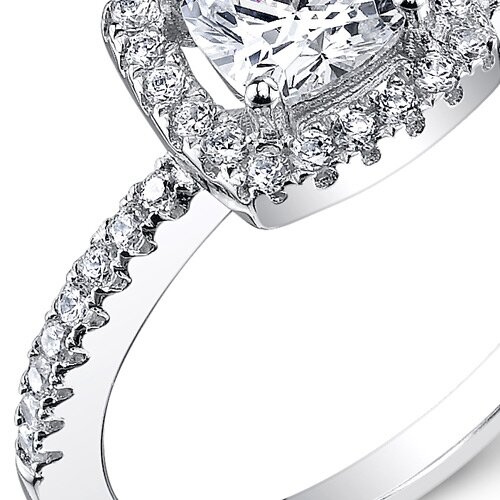 Oravo Sterling Silver Cushion Cut Cubic Zirconia Halo Ring