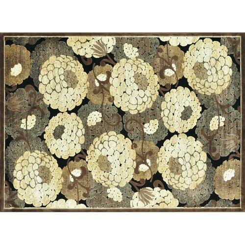 Halton Black / Beige Floral Rug