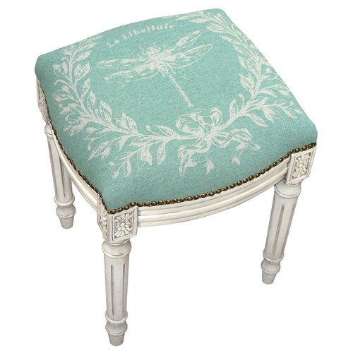 123 Creations French Dragonfly Linen Upholstered Vanity