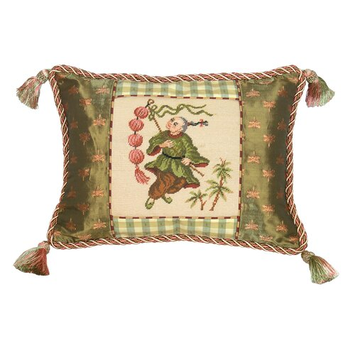 123 Creations Boy with Lantern 100% Wool Petit - Point Pillow with Fabric Trimmed