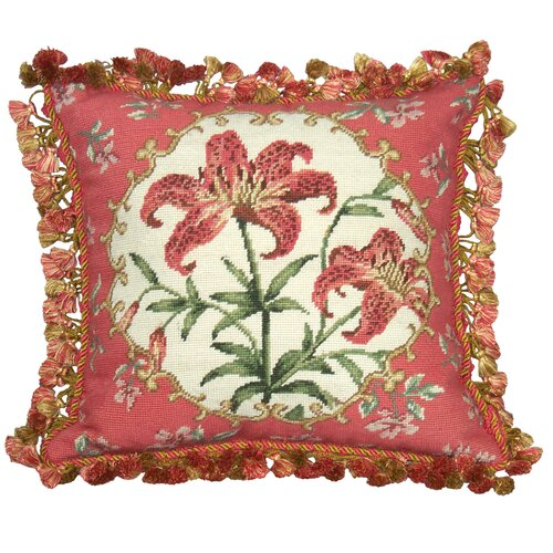 Tiger Lily 100% Wool Needlepoint Pillow