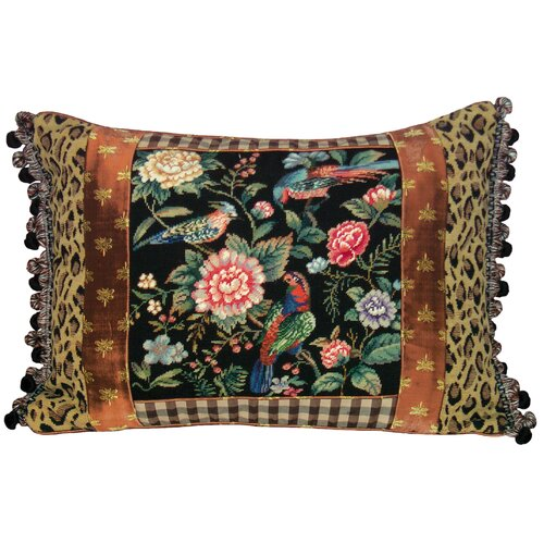 123 Creations Canton Garden 100% Wool Petit - Point Pillow with Fabric Trimmed