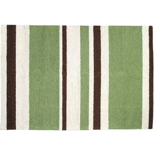 123 Creations Modern Green/Brown Stripe Hook Rug