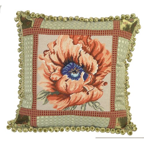 123 Creations Poppy Needlepoint Pillow with Fabric Trimmed