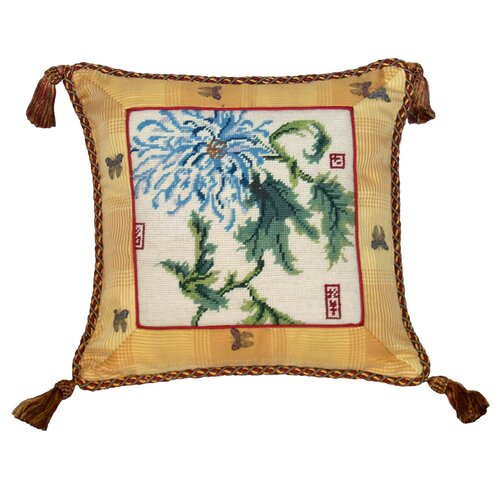 Chrysanthemum 100% Wool Needlepoint Pillow with Fabric Trimmed