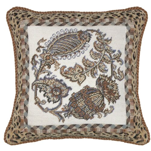 Paisley 100% Wool Square Needlepoint Pillow with Fabric Trimmed