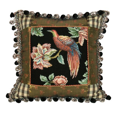 123 Creations Royal Garden - Bird 100% Wool Petit - Point Pillow with Fabric Trimmed