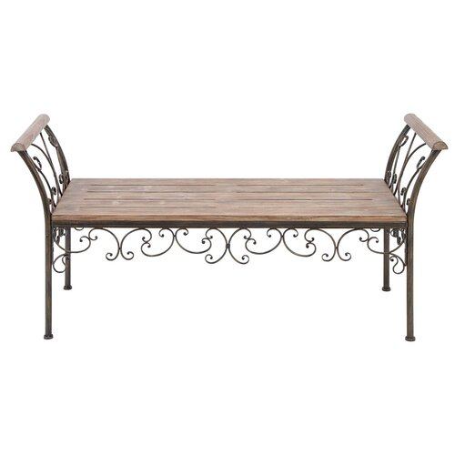Elegant Metal and Wood Bench