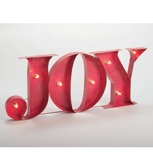 Lighted Joy Sign Stake Yardart Decoration