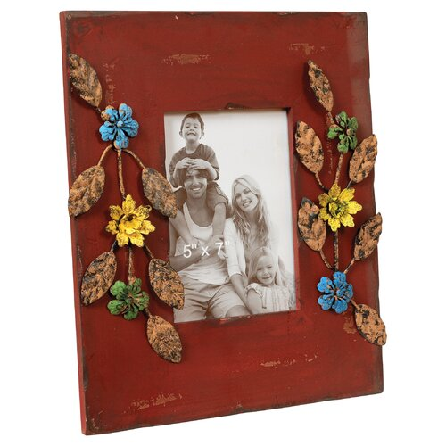 Wood Flower Picture Frame
