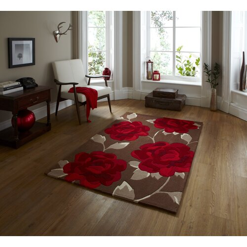 Think Rugs Hong Kong Brown/Red Tufted Rug
