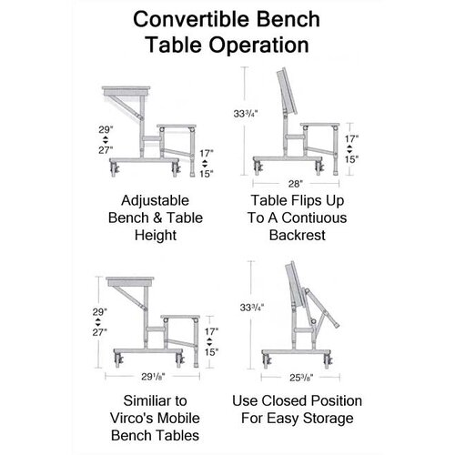 Virco Mobile Convertible Bench Table