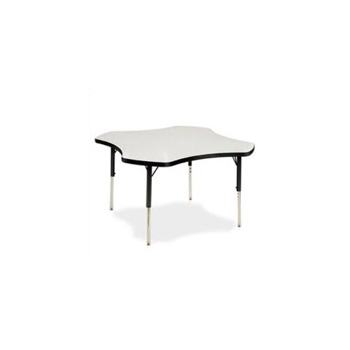 "Virco 4000 Series 48"" Clover Activity Table with Non-Adjustable Chrome Legs"