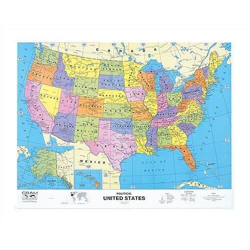 "Virco US/World Map (51"" x 51"")"
