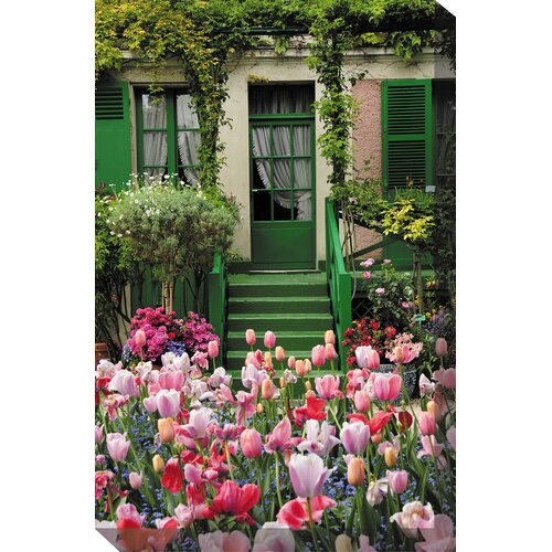 West of the Wind Outdoor Canvas Art Tulips and House Photographic Print on Canvas