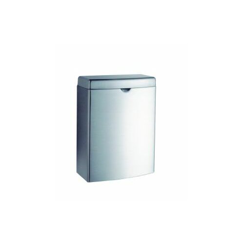 Bobrick Contura Receptacle, Stainless Steel, 1gal, Hinged Lid, Each