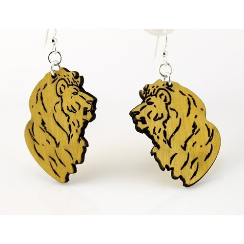 Green Tree Jewelry Detailed Lions Earrings