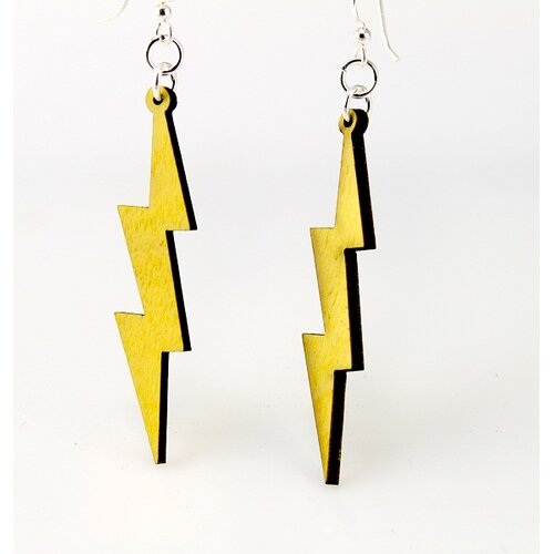 Green Tree Jewelry Slender Lightning Bolts Earrings